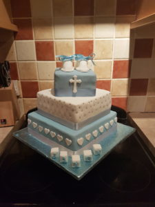 3 Tier Boys Christening Cake