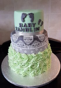 Mint/Grey cake lace baby shower cake