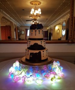 Cornish landmarks silhouette wedding cake